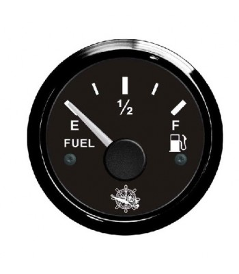 Fuel level gauge 10/180 Ohm  Black dial, black bezel