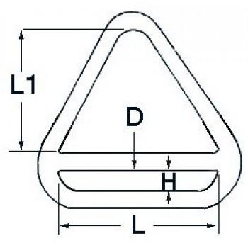 Anello triangolare in acciaio inox lucidato