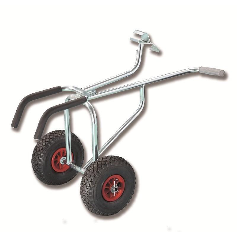 Carrello anteriore snodato per trasporto canotti pneumatici