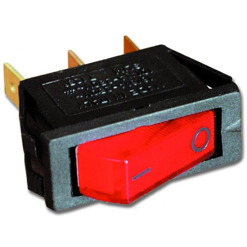 Interruttore luminoso rosso 12V.
