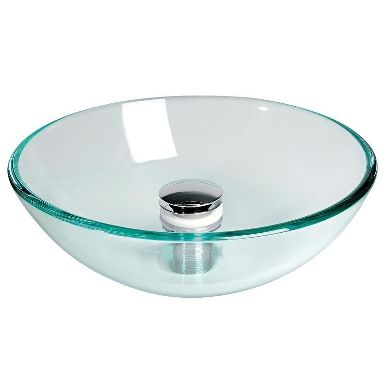 Lavello semisferico in vetro trasparente