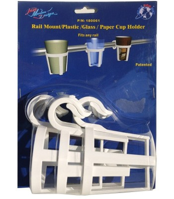 Universal plastic glass-holder,snap mounting on pulpits or handrails.