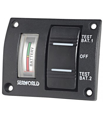 Panel with tester for 2 batteries and watertight switch