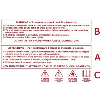 Sticker con scritte rosse di avvertenza