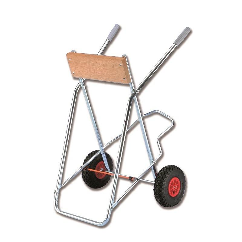 Carrello portamotore con ruote per sabbia e con portaserbatoio